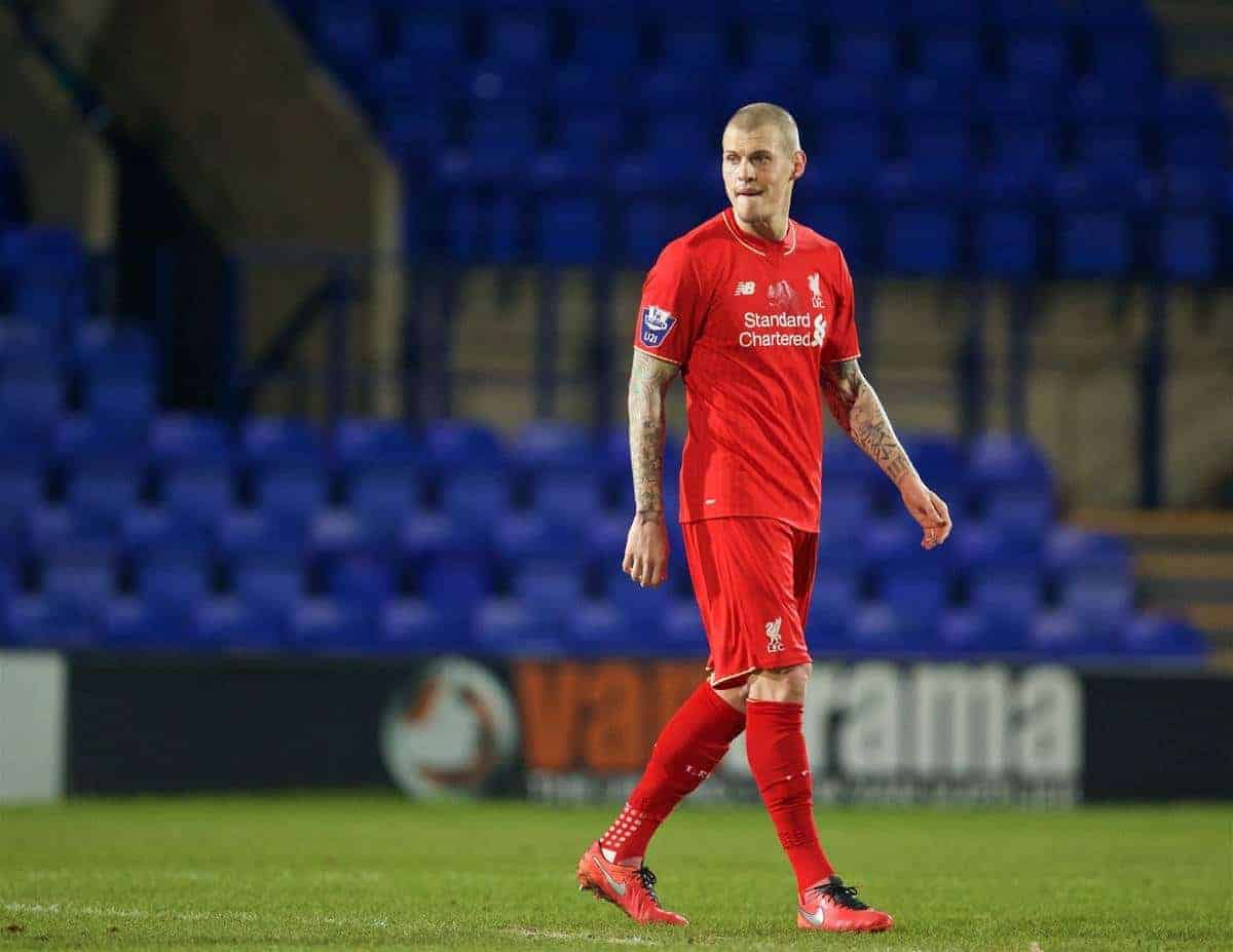 BIRKENHEAD, ENGLAND - Friday, March 11, 2016: Liverpool's Martin Skrtel in action against Manchester United during the Under-21 FA Premier League match at Prenton Park. (Pic by David Rawcliffe/Propaganda)