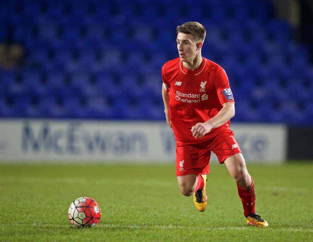 BIRKENHEAD, ENGLAND - Friday, March 11, 2016: Liverpool's Cameron Brannagan in action against Manchester United during the Under-21 FA Premier League match at Prenton Park. (Pic by David Rawcliffe/Propaganda)