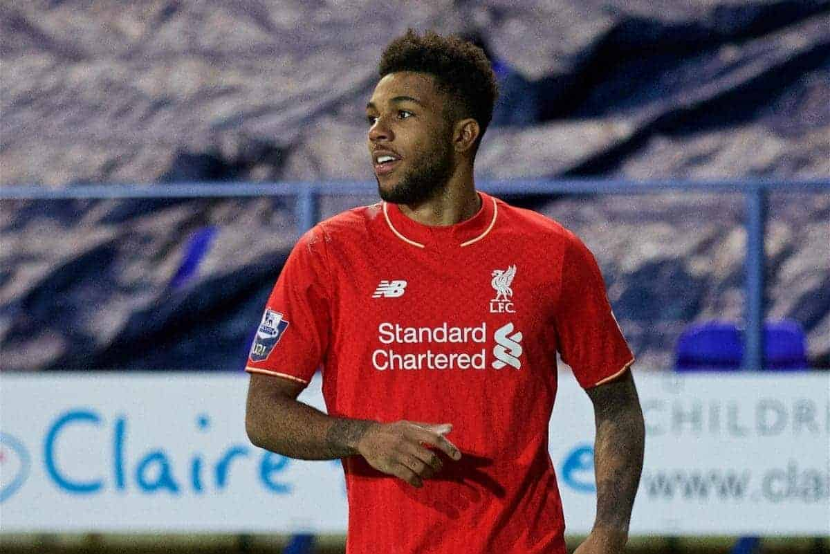 BIRKENHEAD, ENGLAND - Friday, March 11, 2016: Liverpool's Jerome Sinclair celebrates scoring the first goal against Manchester United during the Under-21 FA Premier League match at Prenton Park. (Pic by David Rawcliffe/Propaganda)
