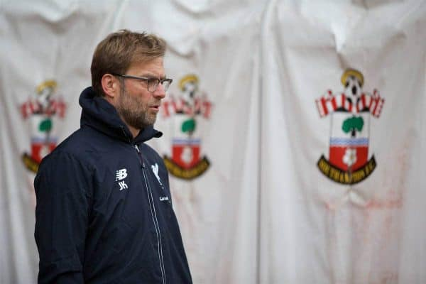SOUTHAMPTON, ENGLAND - Sunday, March 20, 2016: Liverpool's manager Jürgen Klopp before the FA Premier League match against Southampton at St Mary's Stadium. (Pic by David Rawcliffe/Propaganda)