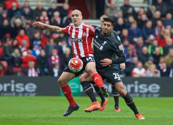 SOUTHAMPTON, ENGLAND - Sunday, March 20, 2016: Liverpool's Emre Can in action against Southampton's Oriol Romeu during the FA Premier League match at St Mary's Stadium. (Pic by David Rawcliffe/Propaganda)