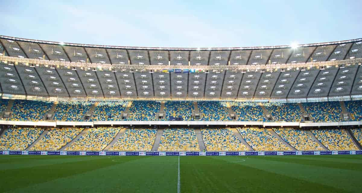 KIEV, UKRAINE - Easter Monday, March 28, 2016: A general view of Ukraine's Olimpiyskiy Stadium before the International Friendly match against Wales. (Pic by David Rawcliffe/Propaganda)