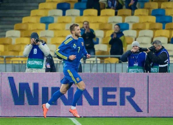 KIEV, UKRAINE - Easter Monday, March 28, 2016: Ukraine's Andriy Yarmolenko celebrates scoring the first goal against Wales during the International Friendly match at the NSK Olimpiyskyi Stadium. (Pic by David Rawcliffe/Propaganda)
