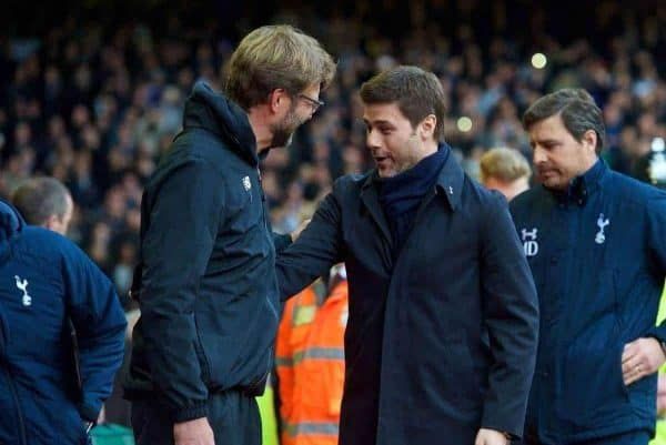 LIVERPOOL, ENGLAND - Saturday, April 2, 2016: Liverpool's manager Jürgen Klopp and Tottenham Hotspur's manager Mauricio Pochettino before the Premier League match at Anfield. (Pic by David Rawcliffe/Propaganda)