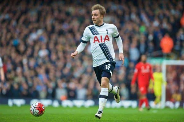 LIVERPOOL, ENGLAND - Saturday, April 2, 2016: Tottenham Hotspur's Christian Eriksen in action against Liverpool during the Premier League match at Anfield. (Pic by David Rawcliffe/Propaganda)