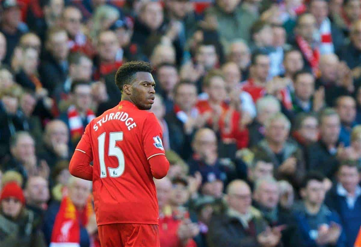LIVERPOOL, ENGLAND - Saturday, April 2, 2016: Liverpool's Daniel Sturridge is substituted during the Premier League match against Tottenham Hotspur at Anfield. (Pic by David Rawcliffe/Propaganda)