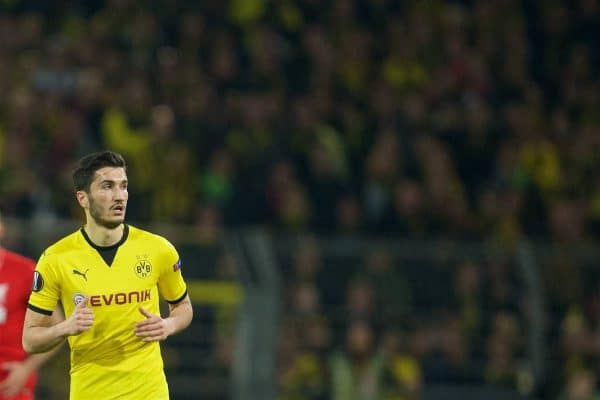DORTMUND, GERMANY - Thursday, April 7, 2016: Borussia Dortmund's Nuri Sahin in action against Liverpool during the UEFA Europa League Quarter-Final 1st Leg match at Westfalenstadion. (Pic by David Rawcliffe/Propaganda)