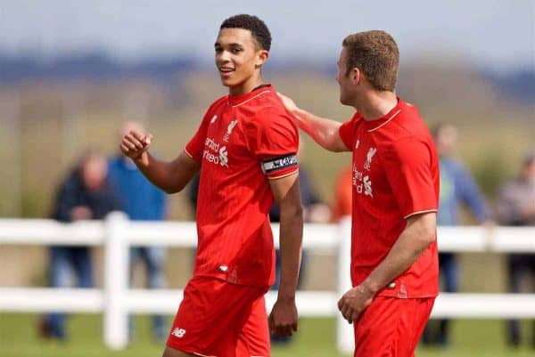 LIVERPOOL, ENGLAND - Saturday, April 9, 2016: Liverpool's Trent Alexander-Arnold [L] celebrates scoring the fourth goal against Everton during the FA Premier League Academy match at Finch Farm. (Pic by David Rawcliffe/Propaganda)