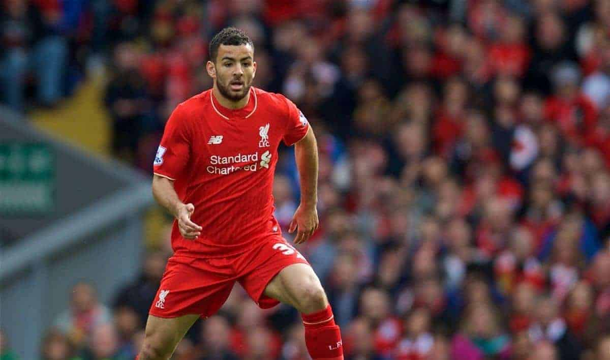 LIVERPOOL, ENGLAND - Sunday, April 10, 2016: Liverpool's Kevin Stewart in action against Stoke City during the Premier League match at Anfield. (Pic by David Rawcliffe/Propaganda)