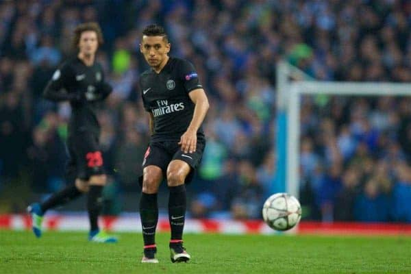 MANCHESTER, ENGLAND - Tuesday, April 12, 2016: Paris Saint-Germain's Marquinhos in action against Manchester City during the UEFA Champions League Quarter-Final 2nd Leg match at the City of Manchester Stadium. (Pic by David Rawcliffe/Propaganda)