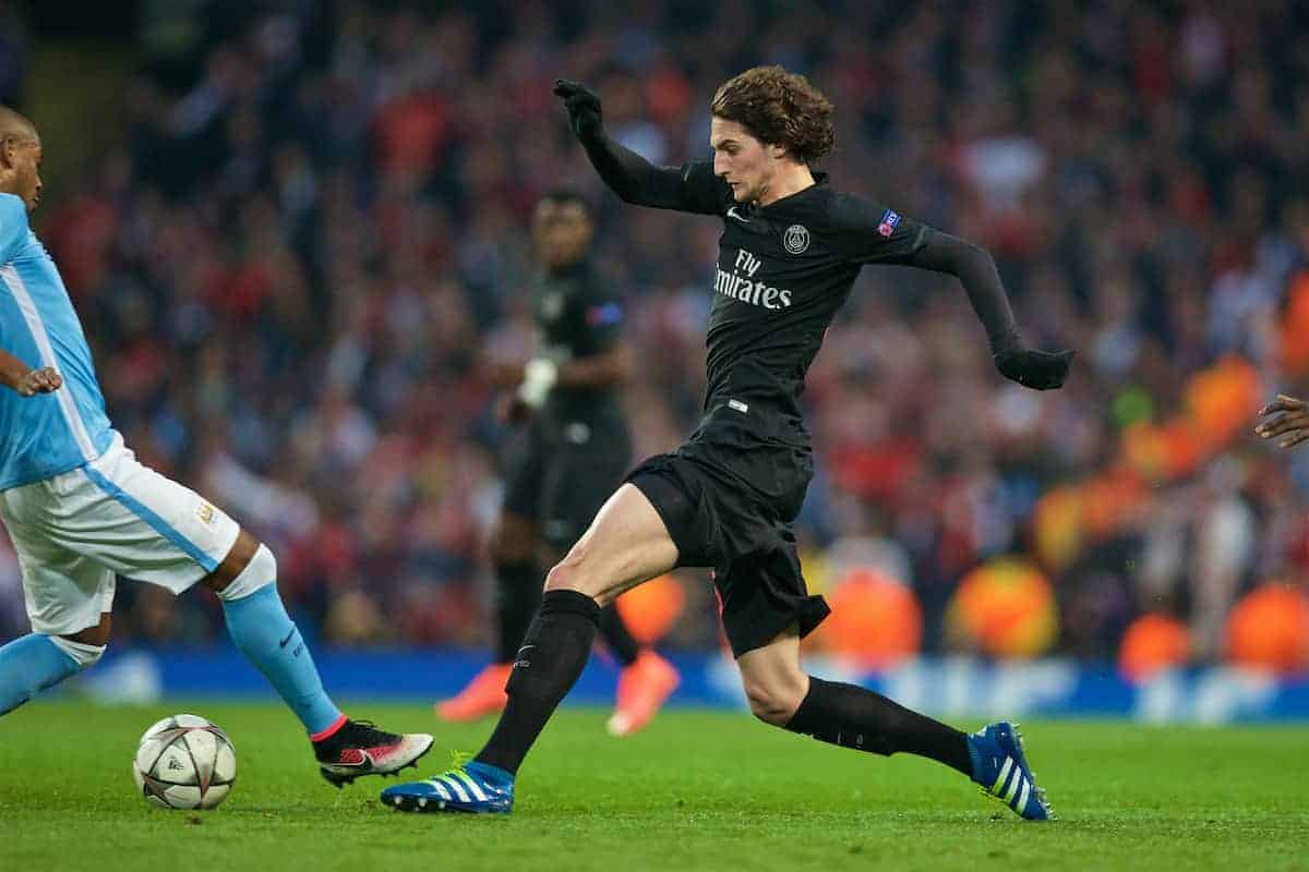 MANCHESTER, ENGLAND - Tuesday, April 12, 2016: Paris Saint-Germain's Adrien Rabiot in action against Manchester City during the UEFA Champions League Quarter-Final 2nd Leg match at the City of Manchester Stadium. (Pic by David Rawcliffe/Propaganda)