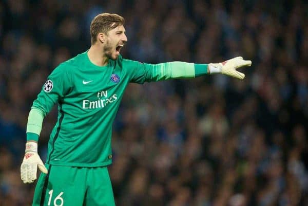 MANCHESTER, ENGLAND - Tuesday, April 12, 2016: Paris Saint-Germain's goalkeeper Kevin Trapp in action against Manchester City during the UEFA Champions League Quarter-Final 2nd Leg match at the City of Manchester Stadium. (Pic by David Rawcliffe/Propaganda)