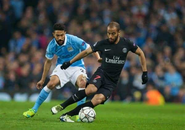 MANCHESTER, ENGLAND - Tuesday, April 12, 2016: Paris Saint-Germain's Lucas Rodrigues Moura da Silva and Manchester City's Gael Clichy during the UEFA Champions League Quarter-Final 2nd Leg match at the City of Manchester Stadium. (Pic by David Rawcliffe/Propaganda)