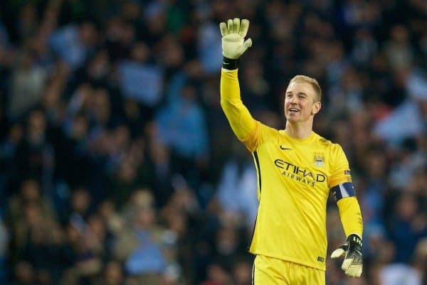 MANCHESTER, ENGLAND - Tuesday, April 12, 2016: Manchester City's goalkeeper Joe Hart celebrates after the 1-0 (3-2 on aggregate) victory over Paris Saint-Germain during the UEFA Champions League Quarter-Final 2nd Leg match at the City of Manchester Stadium. (Pic by David Rawcliffe/Propaganda)