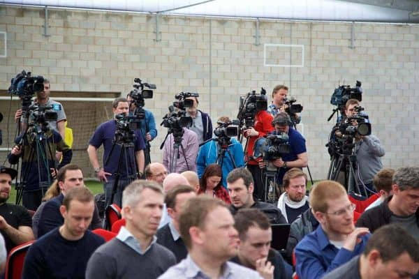 LIVERPOOL, ENGLAND - Wednesday, April 13, 2016: Television and journalists during a press conference at Melwood Training Ground ahead of the UEFA Europa League Quarter-Final 2nd Leg match between Liverpool and Borussia Dortmund. (Pic by David Rawcliffe/Propaganda)