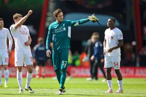 BOURNEMOUTH, ENGLAND - Sunday, April 17, 2016: Liverpool's goalkeeper Danny Ward after the 2-1 victory over Bournemouth during the FA Premier League match at Dean Court. (Pic by David Rawcliffe/Propaganda)