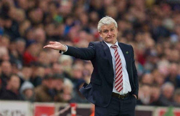 STOKE-ON-TRENT, ENGLAND - Monday, April 18, 2016: Stoke City's manager Mark Hughes during the FA Premier League match against Tottenham Hotspur at the Britannia Stadium. (Pic by David Rawcliffe/Propaganda)
