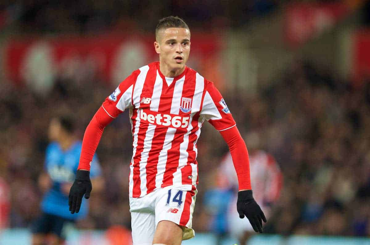 STOKE-ON-TRENT, ENGLAND - Monday, April 18, 2016: Stoke City's Ibrahim Afellay in action against Tottenham Hotspur during the FA Premier League match at the Britannia Stadium. (Pic by David Rawcliffe/Propaganda)