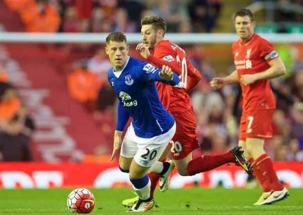 LIVERPOOL, ENGLAND - Wednesday, April 20, 2016: Liverpool's Adam Lallana and Everton's Ross Barkley during the Premier League match at Anfield, the 226th Merseyside Derby. (Pic by David Rawcliffe/Propaganda)