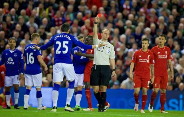 LIVERPOOL, ENGLAND - Wednesday, April 20, 2016: Everton's Ramiro Funes Mori is shown a red card and sent off by referee Robert Madley for a dangerous tackle on Liverpool's Divock Origi during the Premier League match at Anfield, the 226th Merseyside Derby. (Pic by David Rawcliffe/Propaganda)