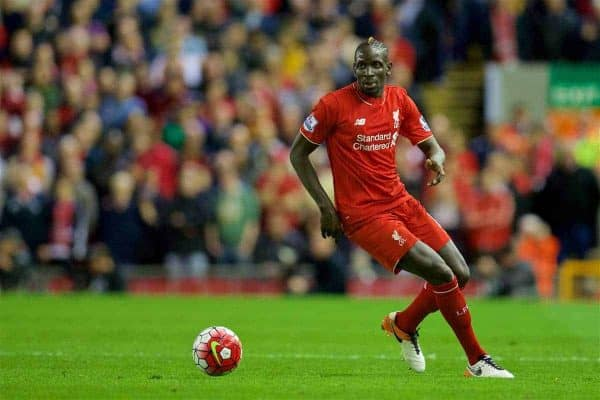 LIVERPOOL, ENGLAND - Wednesday, April 20, 2016: Liverpool's Mamadou Sakho in action against Everton during the Premier League match at Anfield, the 226th Merseyside Derby. (Pic by David Rawcliffe/Propaganda)