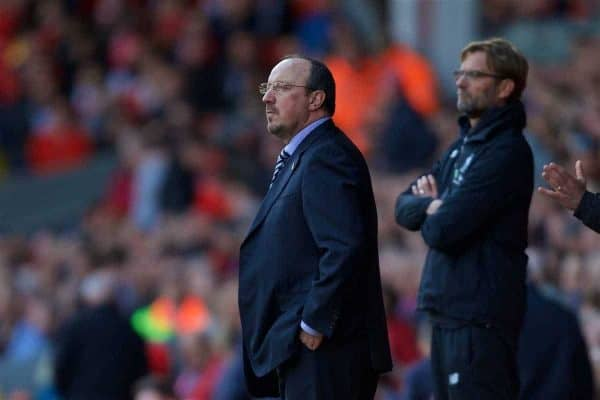 LIVERPOOL, ENGLAND - Saturday, April 23, 2016: Newcastle United's manager Rafael Benitez and Liverpool's manager Jürgen Klopp during the Premier League match at Anfield. (Pic by Bradley Ormesher/Propaganda)