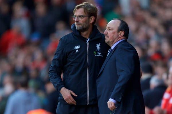 LIVERPOOL, ENGLAND - Saturday, April 23, 2016: Liverpool's manager Jürgen Klopp shakes hands with Newcastle United's manager Rafael Benitez after the 2-2 draw during the Premier League match at Anfield. (Pic by Bradley Ormesher/Propaganda)