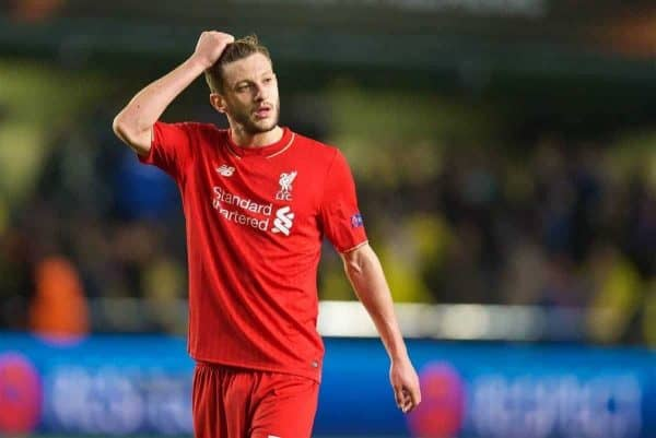 VILLRREAL, SPAIN - Thursday, April 28, 2016: Liverpool's Adam Lallana looks dejected after the injury-time 1-0 defeat to Villarreal CF during the UEFA Europa League Semi-Final 1st Leg match at Estadio El Madrigal. (Pic by David Rawcliffe/Propaganda)