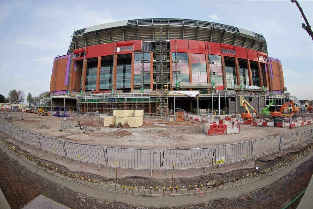 LIVERPOOL, ENGLAND - Thursday, May 5, 2016: Construction continues on the new Main Stand at Anfield, pictured before the UEFA Europa League Semi-Final 2nd Leg match against Villarreal CF. (Pic by David Rawcliffe/Propaganda)