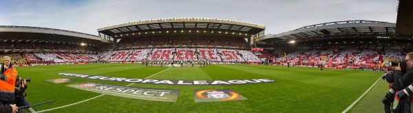 "LIVERPOOL, ENGLAND - Thursday, May 5, 2016: Liverpool supporters mosaic ""96 The Greatest... Football Family"" before the UEFA Europa League Semi-Final 2nd Leg match against Villarreal CF at Anfield. (Pic by David Rawcliffe/Propaganda)"
