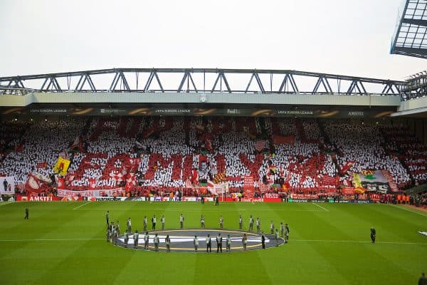 "LIVERPOOL, ENGLAND - Thursday, May 5, 2016: Liverpool supporters' mosaic on the Spion Kop ""Football Family"" before the UEFA Europa League Semi-Final 2nd Leg match against Villarreal CF at Anfield. (Pic by David Rawcliffe/Propaganda)"