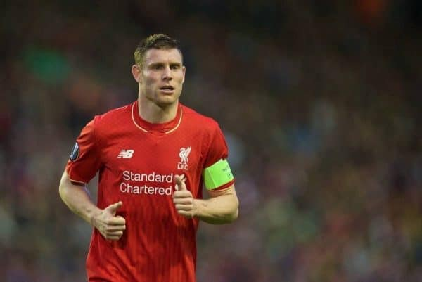 LIVERPOOL, ENGLAND - Thursday, May 5, 2016: Liverpool's James Milner in action against Villarreal during the UEFA Europa League Semi-Final 2nd Leg match at Anfield. (Pic by David Rawcliffe/Propaganda)
