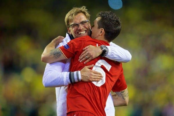 LIVERPOOL, ENGLAND - Thursday, May 5, 2016: Liverpool's manager Jürgen Klopp celebrates with Dejan Lovren after his side's 3-0 victory over Villarreal, reaching the final 3-1 on aggregate, during the UEFA Europa League Semi-Final 2nd Leg match at Anfield. (Pic by David Rawcliffe/Propaganda)