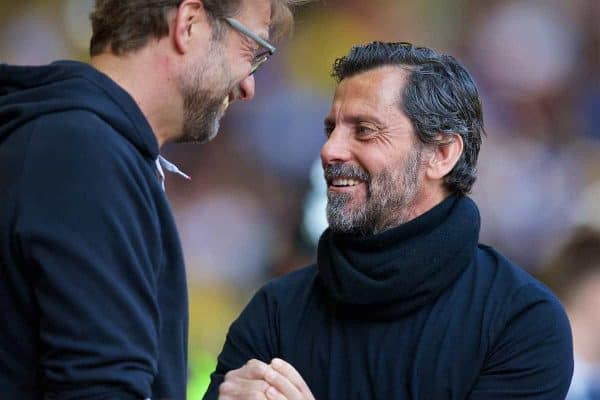 LIVERPOOL, ENGLAND - Sunday, May 8, 2016: Liverpool's manager Jürgen Klopp and Watford's head coach Quique Sánchez Flores before the Premier League match at Anfield. (Pic by David Rawcliffe/Propaganda)