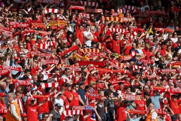Liverpool supporters in the Anfield Road stand before the Premier League match against Watford at Anfield. (Pic by David Rawcliffe/Propaganda)