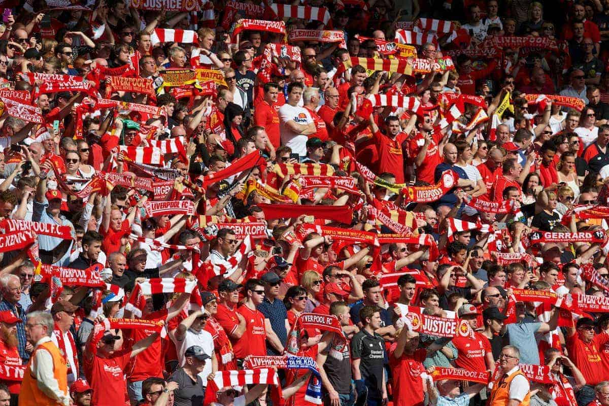 LIVERPOOL, ENGLAND - Sunday, May 8, 2016: Liverpool supporters in the Anfield Road stand before the Premier League match against Watford at Anfield. (Pic by David Rawcliffe/Propaganda)
