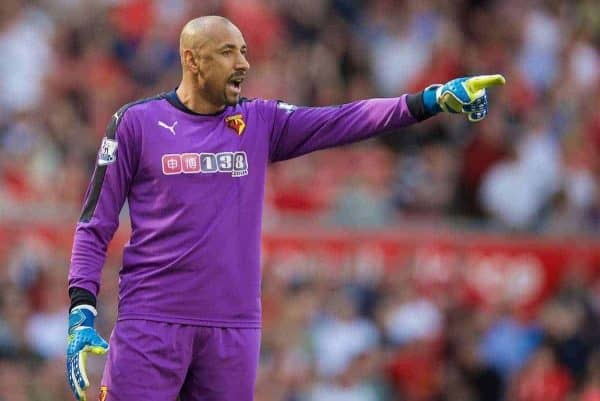 LIVERPOOL, ENGLAND - Sunday, May 8, 2016: Watford's goalkeeper Heurelho Gomes in action against Liverpool during the Premier League match at Anfield. (Pic by David Rawcliffe/Propaganda)