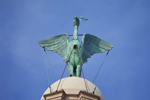 LIVERPOOL, ENGLAND - Monday, May 9, 2016: One of the Liver birds on the Royal Liver Building on Liverpool's historic World Heritage waterfront. (Pic by David Rawcliffe/Propaganda)