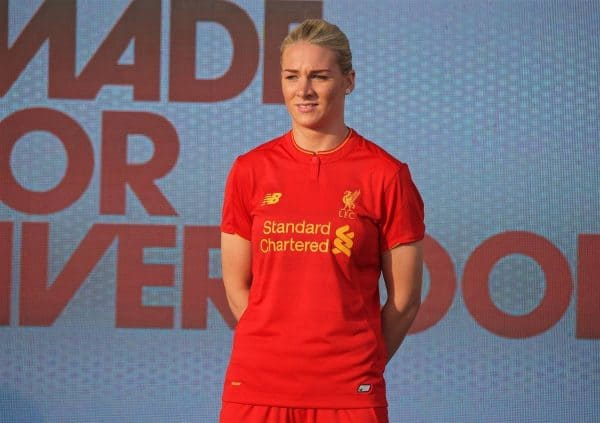 LIVERPOOL, ENGLAND - Monday, May 9, 2016: Liverpool's Gemma Bonner at the launch of the New Balance 2016/17 Liverpool FC kit at a live event in front of supporters at the Royal Liver Building on Liverpool's historic World Heritage waterfront. (Pic by David Rawcliffe/Propaganda)