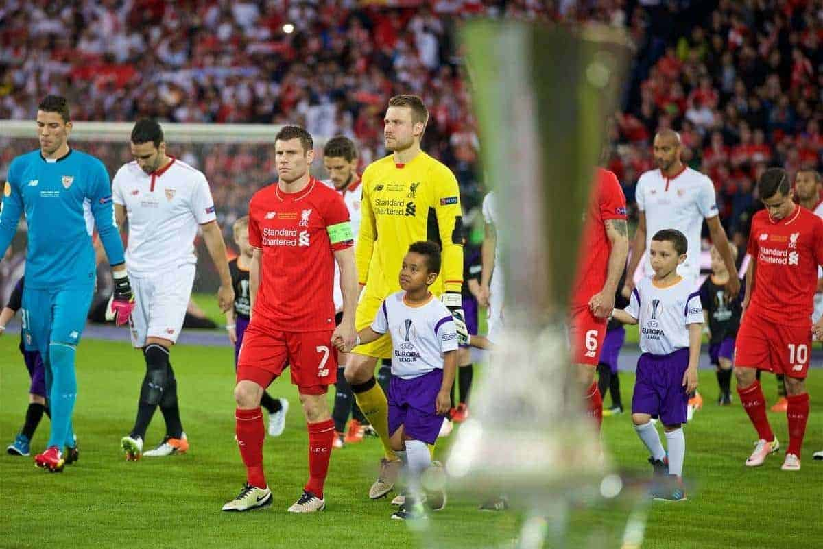 BASEL, SWITZERLAND - Wednesday, May 18, 2016: Liverpool's James Milner looks at the trophy as he leads his side out to face Sevilla during the UEFA Europa League Final at St. Jakob-Park. (Pic by David Rawcliffe/Propaganda)
