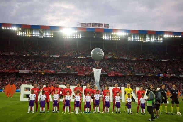 BASEL, SWITZERLAND - Wednesday, May 18, 2016: Liverpool players line-up before the UEFA Europa League Final against Sevilla at St. Jakob-Park. (Pic by David Rawcliffe/Propaganda)