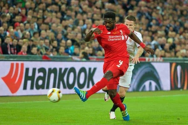 BASEL, SWITZERLAND - Wednesday, May 18, 2016: Liverpool's Kolo Toure in action against Sevilla's Kevin Gameiro during the UEFA Europa League Final at St. Jakob-Park. (Pic by David Rawcliffe/Propaganda)