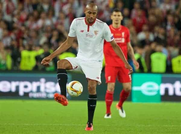 BASEL, SWITZERLAND - Wednesday, May 18, 2016: Sevilla's Steven N'Zonzi in action against Liverpool during the UEFA Europa League Final at St. Jakob-Park. (Pic by David Rawcliffe/Propaganda)