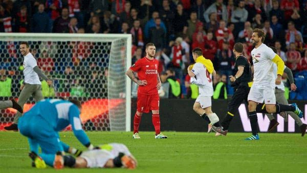 BASEL, SWITZERLAND - Wednesday, May 18, 2016: Liverpool's Alberto Moreno looks dejected as Sevilla win 3-1 during the UEFA Europa League Final at St. Jakob-Park. (Pic by David Rawcliffe/Propaganda)