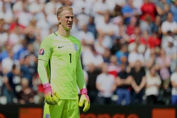 LENS, FRANCE - Thursday, June 16, 2016: England's goalkeeper Joe Hart in action against Wales during the UEFA Euro 2016 Championship Group B match at the Stade Bollaert-Delelis. (Pic by David Rawcliffe/Propaganda)