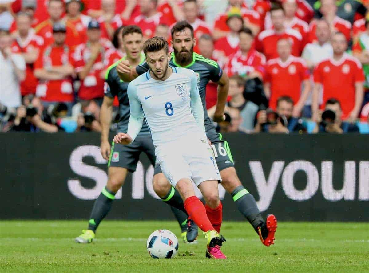 LENS, FRANCE - Thursday, June 16, 2016: England's Adam Lallana in action against Wales during the UEFA Euro 2016 Championship Group B match at the Stade Bollaert-Delelis. (Pic by David Rawcliffe/Propaganda)