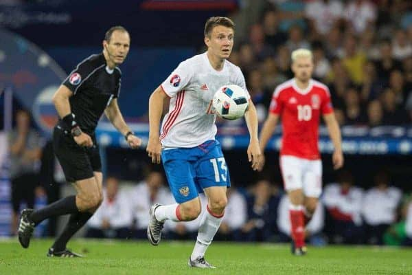 TOULOUSE, FRANCE - Monday, June 20, 2016: Russia's Aleksandr Golovin during the final Group B UEFA Euro 2016 Championship match against Wales at Stadium de Toulouse. (Pic by Paul Greenwood/Propaganda)