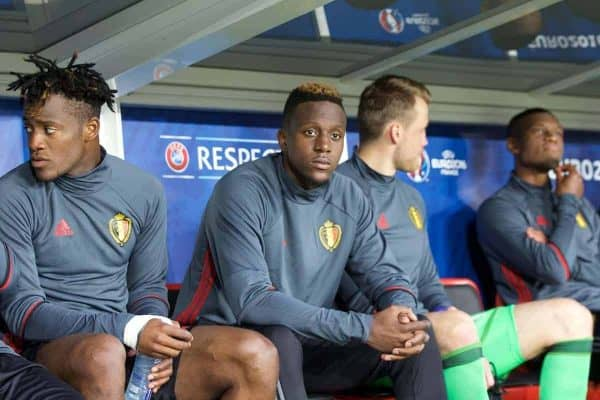 Belgium's Divock Origi sits on the substitutes bench ahead of the UEFA Euro 2016 Championship Quarter-Final match against Wales at the Stade Pierre Mauroy. (Pic by Paul Greenwood/Propaganda)