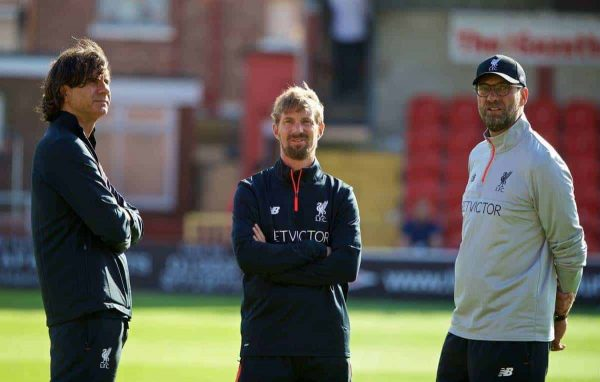 FLEETWOOD, ENGLAND - Wednesday, July 13, 2016: Liverpool's assistant manager Zeljko Buvac, head of fitness and conditioning Andreas Kornmayer and manager Jürgen Klopp before a friendly match against Fleetwood Town at Highbury Stadium. (Pic by David Rawcliffe/Propaganda)