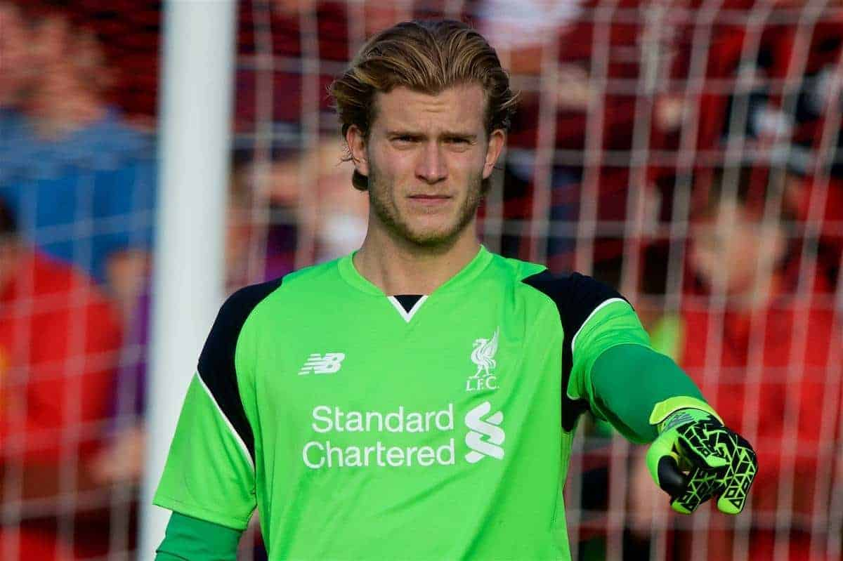 FLEETWOOD, ENGLAND - Wednesday, July 13, 2016: Liverpool's goalkeeper Loris Karius in action against Fleetwood Town during a friendly match at Highbury Stadium. (Pic by David Rawcliffe/Propaganda)